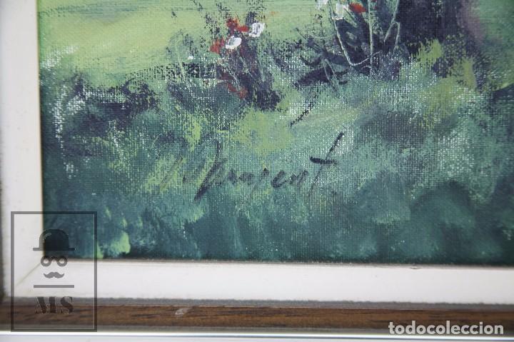 Arte: Pintura al Óleo Sobre Lienzo - Albert Junyent. Paisaje con Carreta - Primera Mitad S. XX - Foto 4 - 99530875