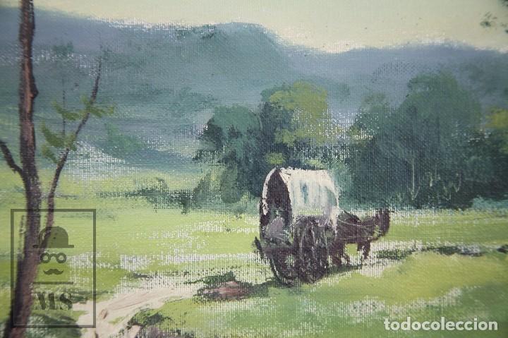Arte: Pintura al Óleo Sobre Lienzo - Albert Junyent. Paisaje con Carreta - Primera Mitad S. XX - Foto 9 - 99530875