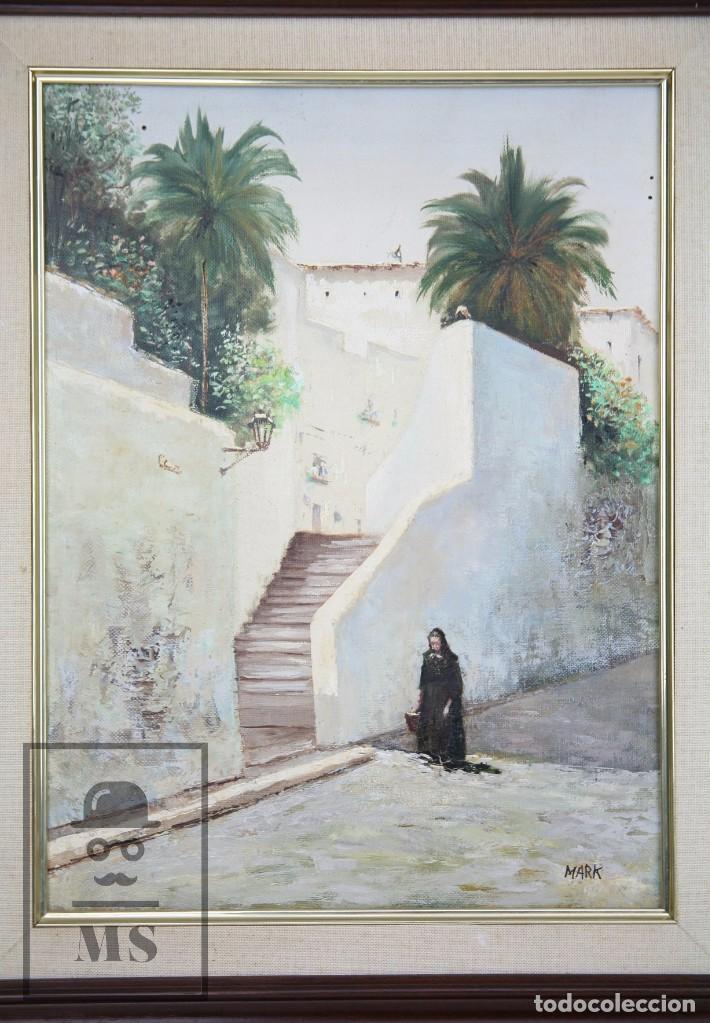 Arte: Pintura al Óleo Sobre Lienzo - Ibiza. Firmado Mark - Mediados del Siglo XX - Medidas 45 x 54 cm - Foto 2 - 99530883