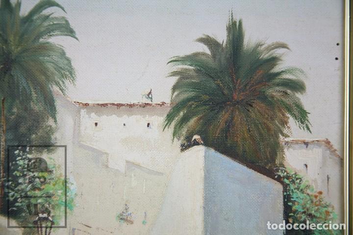 Arte: Pintura al Óleo Sobre Lienzo - Ibiza. Firmado Mark - Mediados del Siglo XX - Medidas 45 x 54 cm - Foto 3 - 99530883