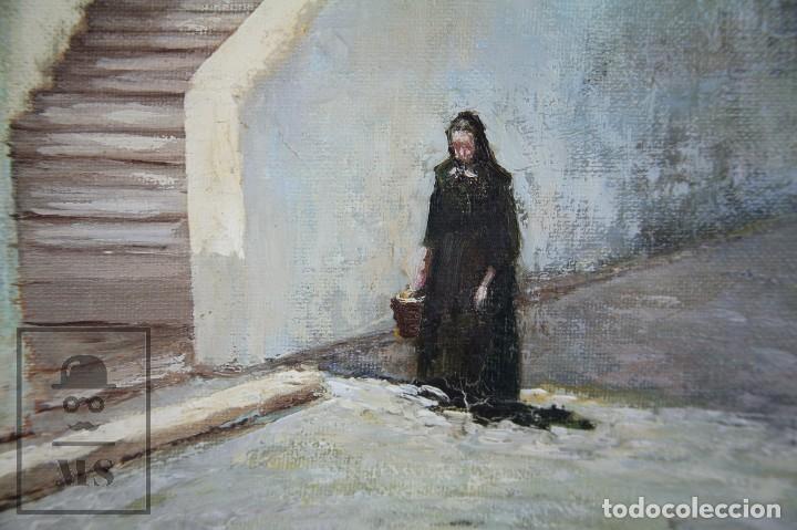 Arte: Pintura al Óleo Sobre Lienzo - Ibiza. Firmado Mark - Mediados del Siglo XX - Medidas 45 x 54 cm - Foto 4 - 99530883