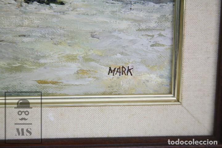 Arte: Pintura al Óleo Sobre Lienzo - Ibiza. Firmado Mark - Mediados del Siglo XX - Medidas 45 x 54 cm - Foto 5 - 99530883