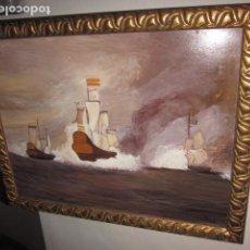 Arte: OLEO MARINA CON FIRMA. MEDIDAS 81 X 64, BARCO CON BANDERA ESPAÑOLA. Lote 99554247