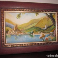 Arte: PINTURA OLEO SOBRE TABLA ANTIGUO PAISAJE CON FIRMA, MEDIDAS: 70 X 48. Lote 99559983
