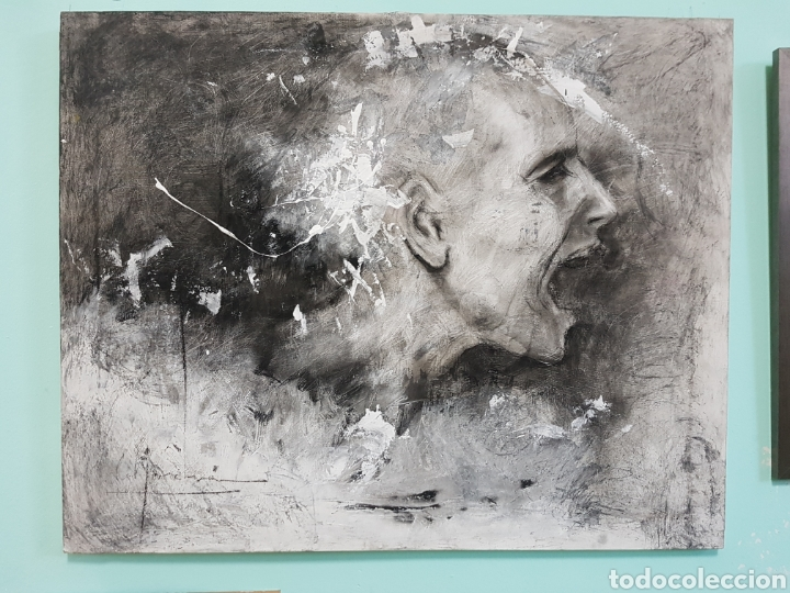 HOMBRE QUE GRITA, CARLOS MERCHÁN, OBRA ORIGINAL, CON LIBRO CATALOGADA. 80X64CM (Arte - Pintura - Pintura al Óleo Contemporánea )
