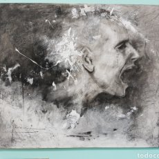 Arte: HOMBRE QUE GRITA, CARLOS MERCHÁN, OBRA ORIGINAL, CON LIBRO CATALOGADA. 80X64CM. Lote 99563720