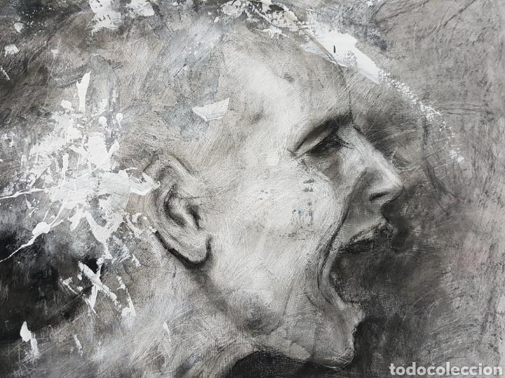 Arte: HOMBRE QUE GRITA, CARLOS MERCHÁN, OBRA ORIGINAL, CON LIBRO CATALOGADA. 80x64cm - Foto 2 - 99563720