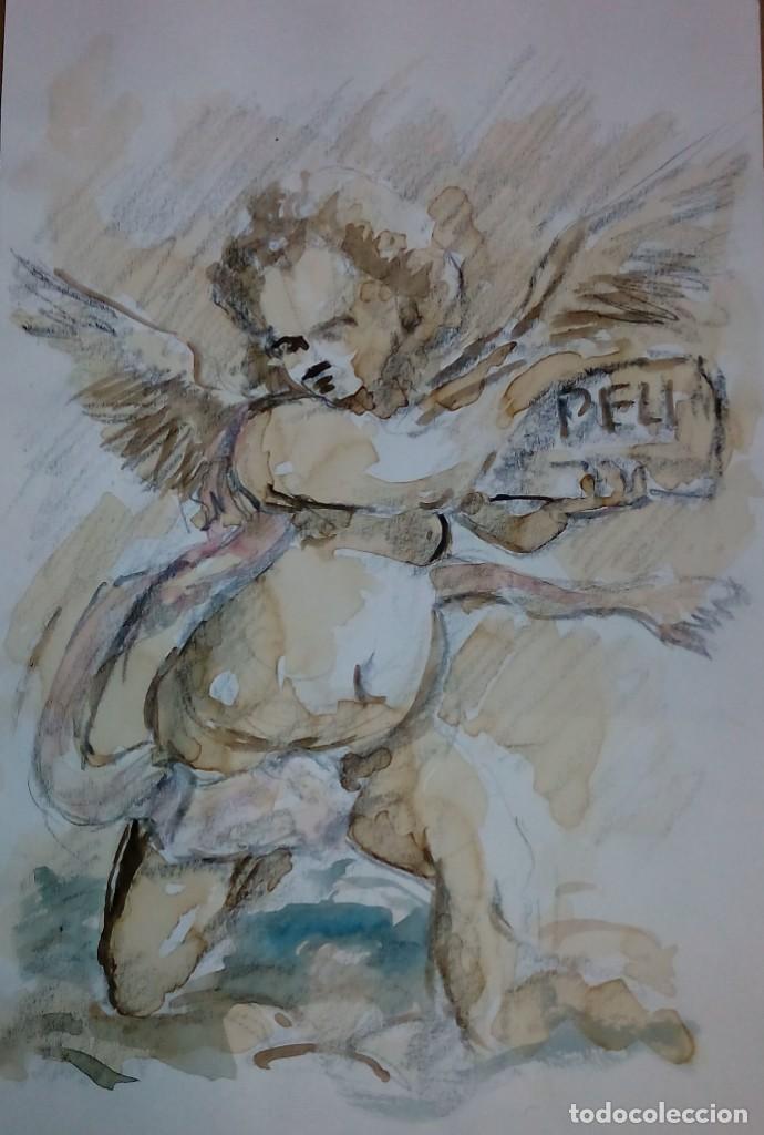 DIBUJO A LÁPIZ MOTIVO RELIGIOSO. ANGEL ANUNCIADOR (Arte - Pintura Directa del Autor)