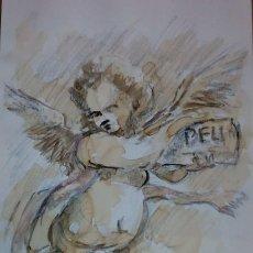 Arte: DIBUJO A LÁPIZ MOTIVO RELIGIOSO. ANGEL ANUNCIADOR . Lote 99696599