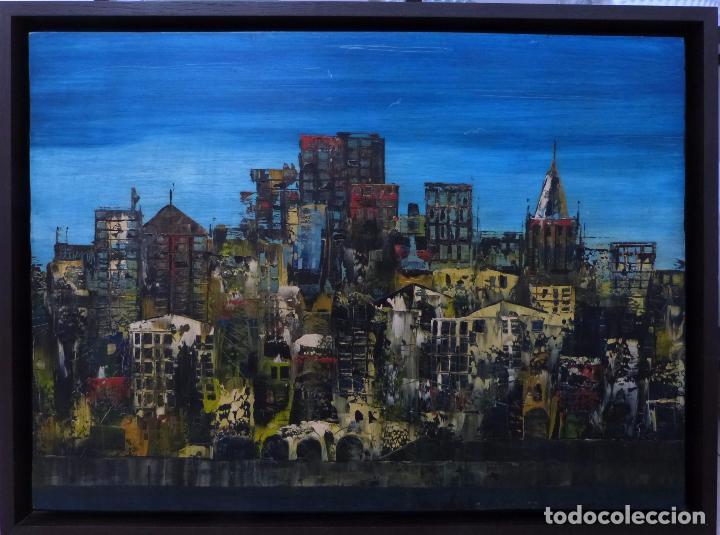 LUGRIS VADILLO ( VIGO 1942 - CORUÑA 2018). VISTA DEL BERBES DE VIGO. (Arte - Pintura - Pintura al Óleo Contemporánea )