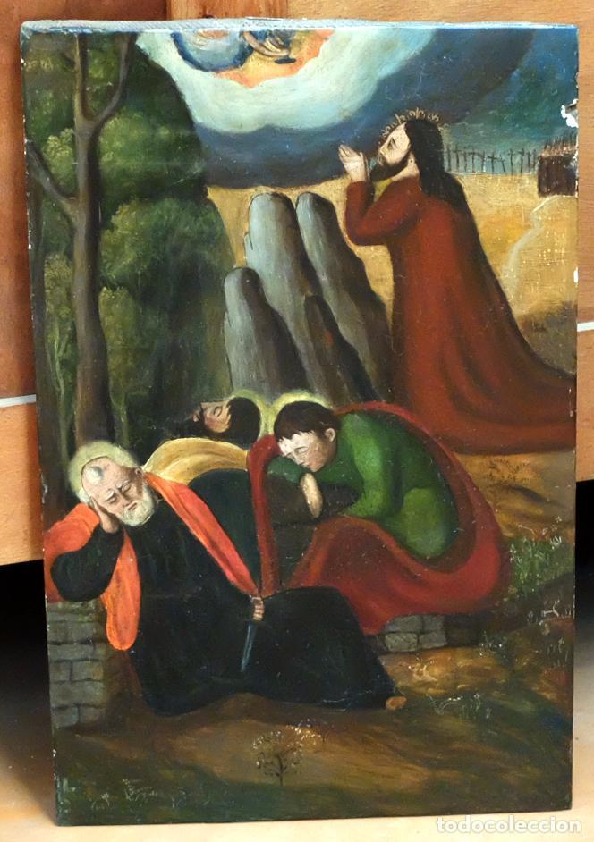 ESCUELA ESPAÑOLA DEL SIGLO XVII. RETABLO PINTANDO SOBRE TABLA DE TEMA RELIGIOSO (Arte - Pintura - Pintura al Óleo Antigua siglo XVII)