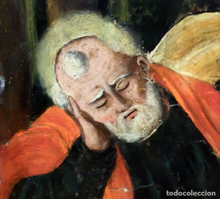 Arte: ESCUELA ESPAÑOLA DEL SIGLO XVII. RETABLO PINTANDO SOBRE TABLA DE TEMA RELIGIOSO - Foto 4 - 99743231