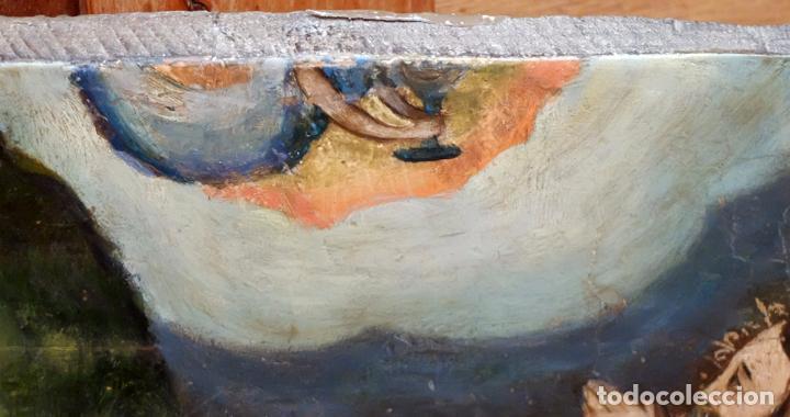 Arte: ESCUELA ESPAÑOLA DEL SIGLO XVII. RETABLO PINTANDO SOBRE TABLA DE TEMA RELIGIOSO - Foto 7 - 99743231