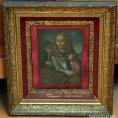 Arte: ESCUELA ESPAÑOLA DEL SIGLO XVIII. OLEO SOBRE TELA Y PEGADO A TABLA. SANTA ANA Y LA VIRGEN. Lote 99744259