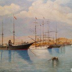 Arte: ENRIQUE FLORIDO BERNILS. ÓLEO PUERTO DE MÁLAGA . Lote 99806332