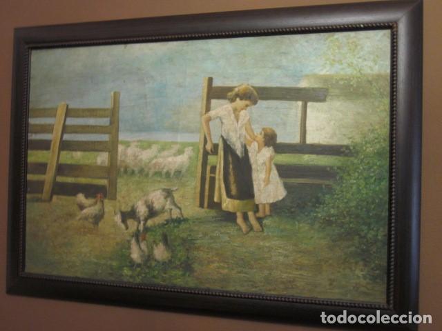 OLEO ANTIGUO EN LIENZO ENMARCADO MEDIDAS 88 X 59,5 (Arte - Pintura - Pintura al Óleo Antigua sin fecha definida)