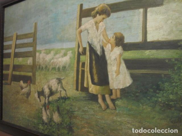 Arte: oleo antiguo en lienzo enmarcado medidas 88 x 59,5 - Foto 2 - 99825199