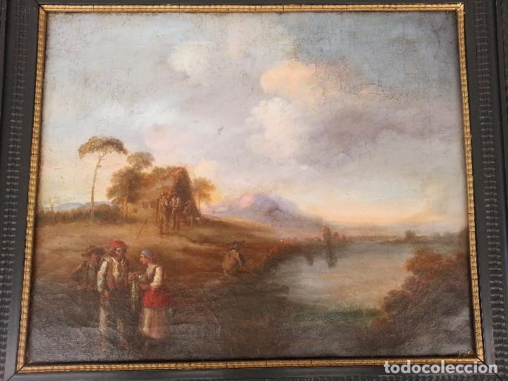 CUADRO SEVILLANO COSTUMBRISTA OLEO LIENZO J. D. BECQUER (ATRIBUIDO) (Arte - Pintura - Pintura al Óleo Antigua sin fecha definida)