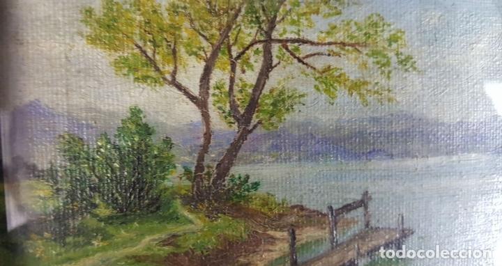 Arte: COLECCIÓN DE 8 MINIATURAS. PAISAJES. ÓLEO SOBRE LIENZO. ELISA LAGOMÁ. 1944. - Foto 7 - 99920847