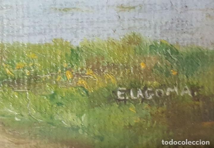 Arte: COLECCIÓN DE 8 MINIATURAS. PAISAJES. ÓLEO SOBRE LIENZO. ELISA LAGOMÁ. 1944. - Foto 8 - 99920847