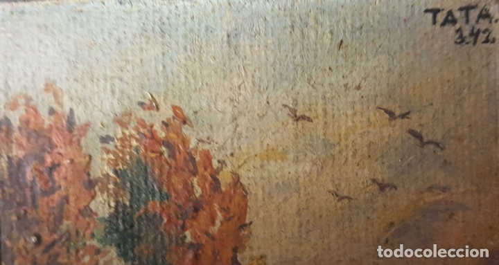 Arte: COLECCIÓN DE 8 MINIATURAS. PAISAJES. ÓLEO SOBRE LIENZO. ELISA LAGOMÁ. 1944. - Foto 11 - 99920847