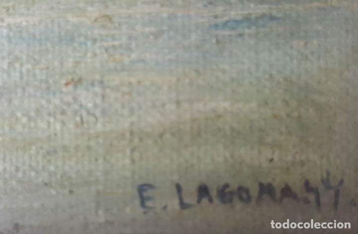 Arte: COLECCIÓN DE 8 MINIATURAS. PAISAJES. ÓLEO SOBRE LIENZO. ELISA LAGOMÁ. 1944. - Foto 12 - 99920847