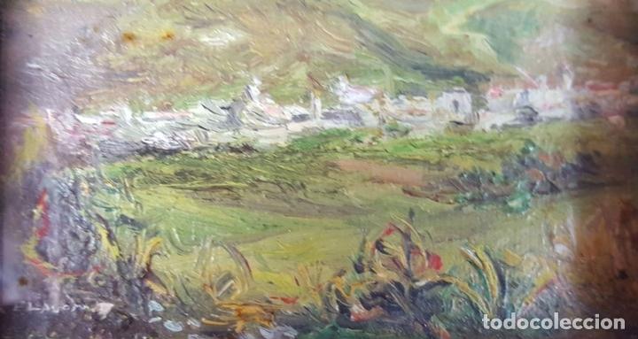 Arte: COLECCIÓN DE 8 MINIATURAS. PAISAJES. ÓLEO SOBRE LIENZO. ELISA LAGOMÁ. 1944. - Foto 15 - 99920847