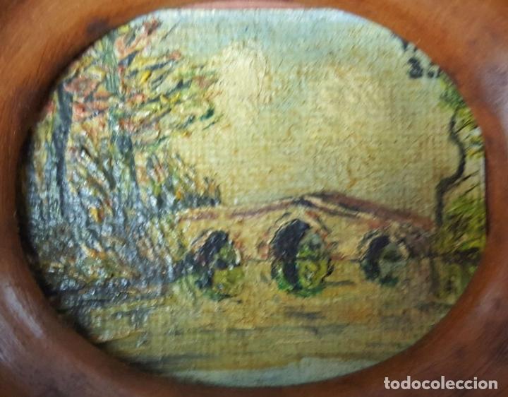 Arte: COLECCIÓN DE 8 MINIATURAS. PAISAJES. ÓLEO SOBRE LIENZO. ELISA LAGOMÁ. 1944. - Foto 18 - 99920847