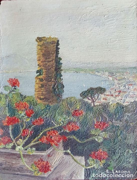 Arte: COLECCIÓN DE 8 MINIATURAS. PAISAJES. ÓLEO SOBRE LIENZO. ELISA LAGOMÁ. 1944. - Foto 22 - 99920847
