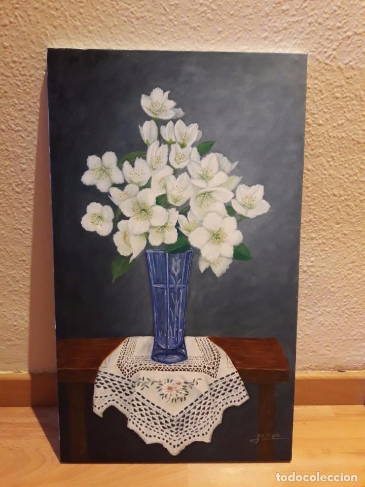 JARRÓN DE CRISTAL CON JAZMINES. 55X33. FIRMADO. ORIGINAL. (Arte - Pintura - Pintura al Óleo Contemporánea )