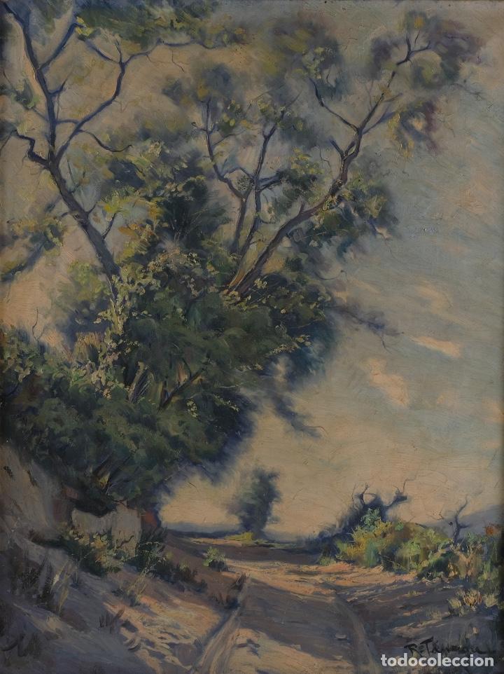 ÓLEO SOBRE LIENZO PAISAJE CAMINO FIRMADO FIRMADO R. TARREGA (Arte - Pintura - Pintura al Óleo Contemporánea )