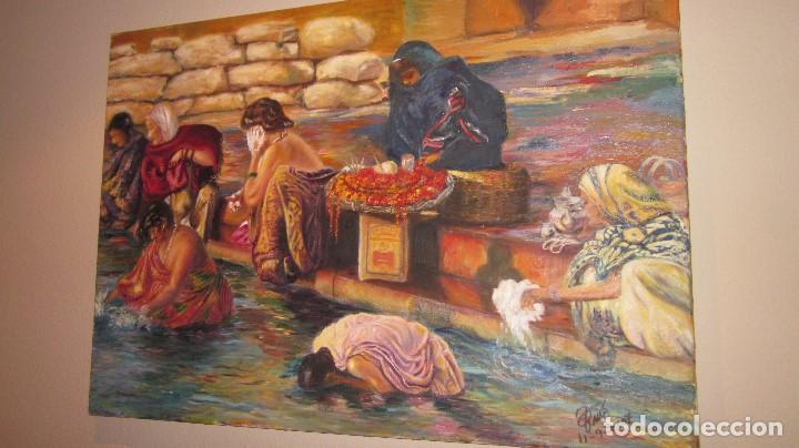 OLEO EN LIENZO BAÑO PURIFICADOR DE LA INDIA CON FIRMA Y AÑO 2007 (Arte - Pintura - Pintura al Óleo Contemporánea )
