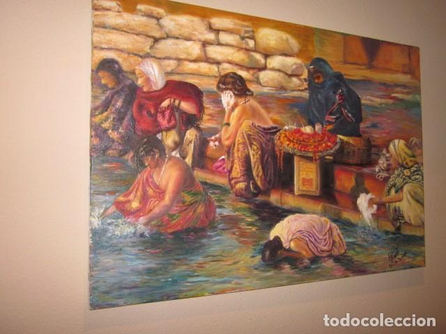 Arte: oleo en lienzo baño purificador de la India con firma y año 2007 - Foto 2 - 100404771