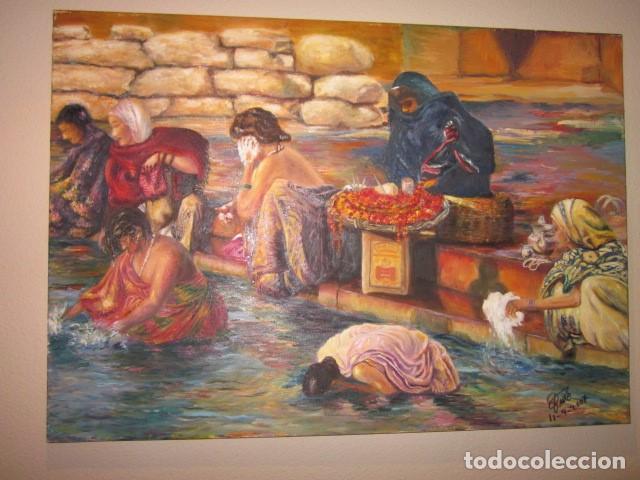 Arte: oleo en lienzo baño purificador de la India con firma y año 2007 - Foto 3 - 100404771