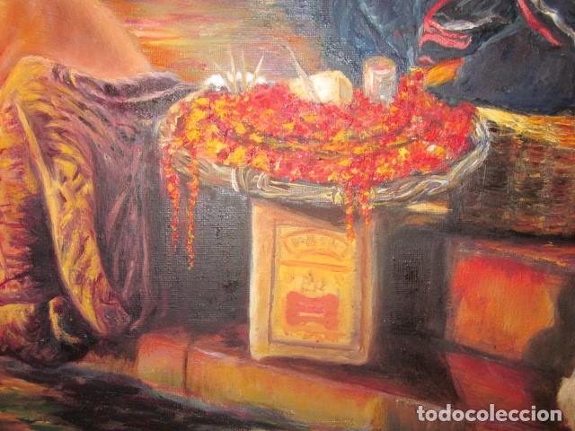 Arte: oleo en lienzo baño purificador de la India con firma y año 2007 - Foto 5 - 100404771