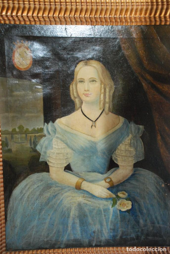 MUY BONITO RETRATO DE DAMA ÓLEO SOBRE LIENZO (Arte - Pintura - Pintura al Óleo Moderna siglo XIX)