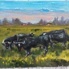 Arte: JOAN SOLER GIL, ANIMALES RUMIANDO 3-FIGURA 17X22 CM. Lote 100624979
