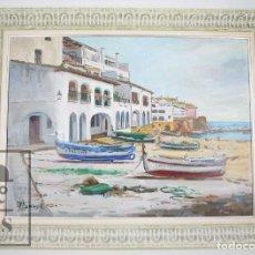 Arte: PINTURA AL ÓLEO SOBRE LIENZO ENMARCADA - JOAQUÍM PLANAS CAMPDEPADRÓS. CALELLA DE PALAFRUGELL. Lote 100715451
