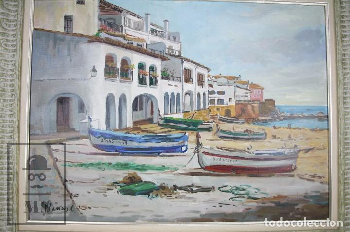 Arte: Pintura al Óleo sobre Lienzo Enmarcada - Joaquím Planas Campdepadrós. Calella de Palafrugell - Foto 2 - 100715451
