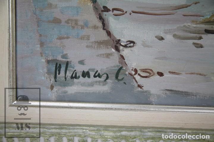Arte: Pintura al Óleo sobre Lienzo Enmarcada - Joaquím Planas Campdepadrós. Calella de Palafrugell - Foto 3 - 100715451