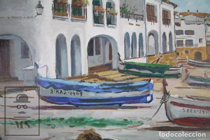 Arte: Pintura al Óleo sobre Lienzo Enmarcada - Joaquím Planas Campdepadrós. Calella de Palafrugell - Foto 4 - 100715451