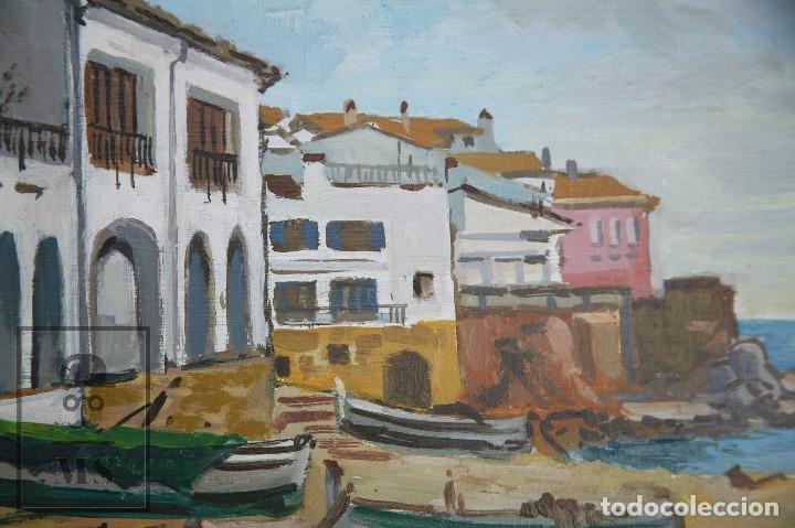 Arte: Pintura al Óleo sobre Lienzo Enmarcada - Joaquím Planas Campdepadrós. Calella de Palafrugell - Foto 5 - 100715451