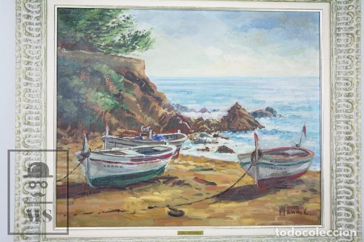 Arte: Pintura al Óleo sobre Lienzo Enmarcada - Joaquím Planas Campdepadrós. Sa Caleta, Lloret de Mar - Foto 2 - 100716259