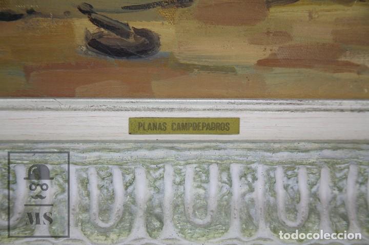 Arte: Pintura al Óleo sobre Lienzo Enmarcada - Joaquím Planas Campdepadrós. Sa Caleta, Lloret de Mar - Foto 3 - 100716259