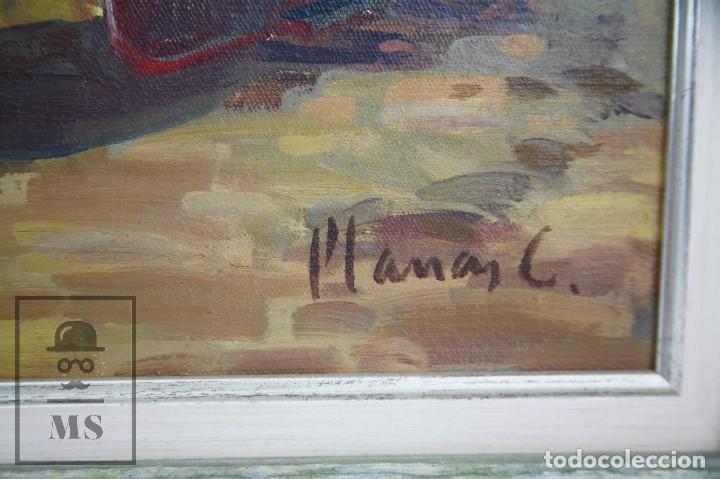 Arte: Pintura al Óleo sobre Lienzo Enmarcada - Joaquím Planas Campdepadrós. Sa Caleta, Lloret de Mar - Foto 4 - 100716259