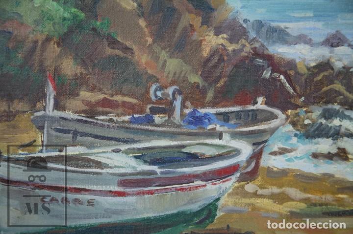 Arte: Pintura al Óleo sobre Lienzo Enmarcada - Joaquím Planas Campdepadrós. Sa Caleta, Lloret de Mar - Foto 5 - 100716259