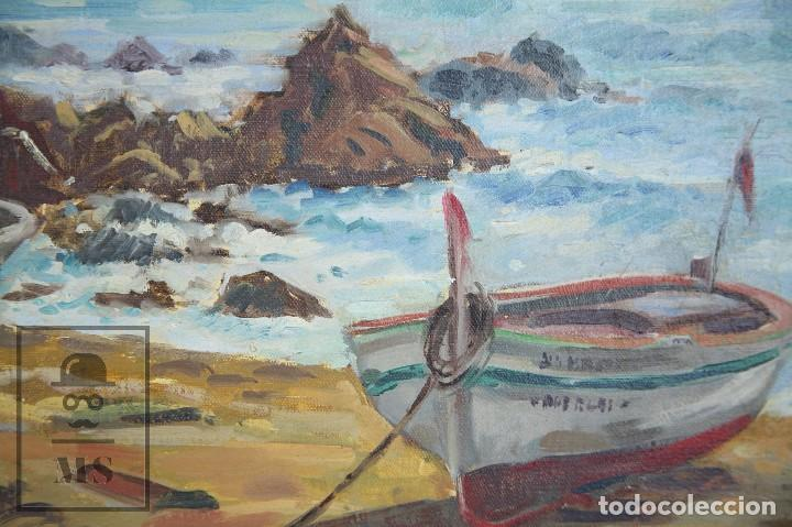 Arte: Pintura al Óleo sobre Lienzo Enmarcada - Joaquím Planas Campdepadrós. Sa Caleta, Lloret de Mar - Foto 6 - 100716259
