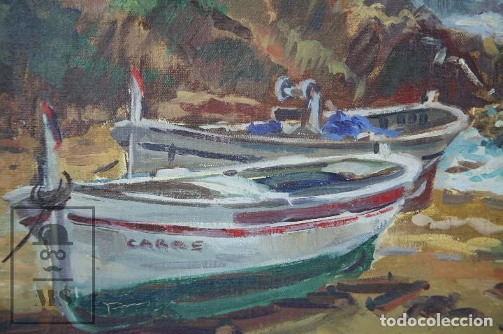 Arte: Pintura al Óleo sobre Lienzo Enmarcada - Joaquím Planas Campdepadrós. Sa Caleta, Lloret de Mar - Foto 7 - 100716259