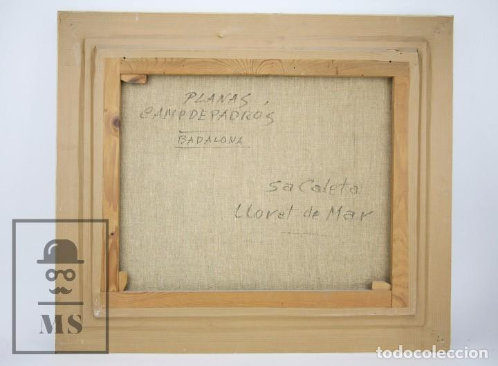 Arte: Pintura al Óleo sobre Lienzo Enmarcada - Joaquím Planas Campdepadrós. Sa Caleta, Lloret de Mar - Foto 8 - 100716259