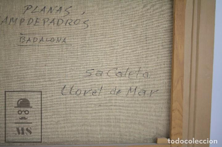Arte: Pintura al Óleo sobre Lienzo Enmarcada - Joaquím Planas Campdepadrós. Sa Caleta, Lloret de Mar - Foto 13 - 100716259